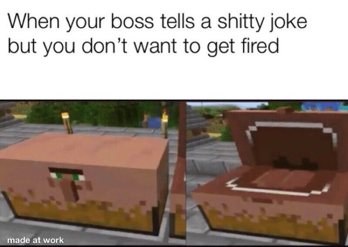 Dont Want: When your boss tells a shitty joke  but you don't want to get fired  made at work