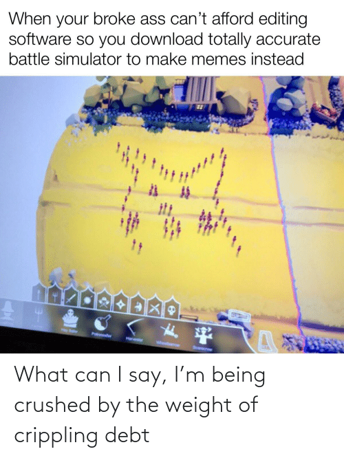 Battle Simulator: When your broke ass can't afford editing  software so you download totally accurate  battle simulator to make memes instead  Hay Bler  Potoer  Hanser  whebarow  Scarecrow What can I say, I'm being crushed by the weight of crippling debt