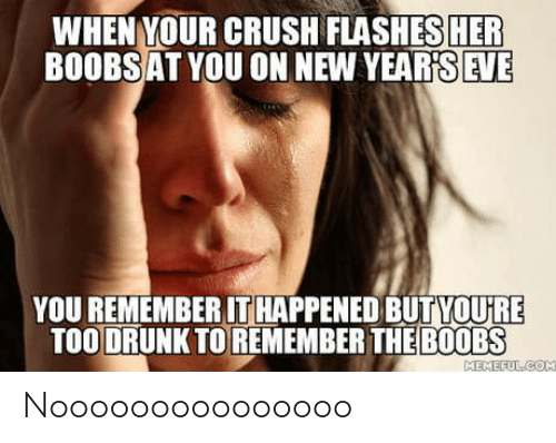 your crush: WHEN YOUR CRUSH FLASHES HER  BOOBSAT YOU ON NEW YEAR'S EVE  YOU REMEMBER IT HAPPENED BUTYOU'RE  TOO DRUNK TO REMEMBER THE B0OBS  MEMEFULCOM Nooooooooooooooo