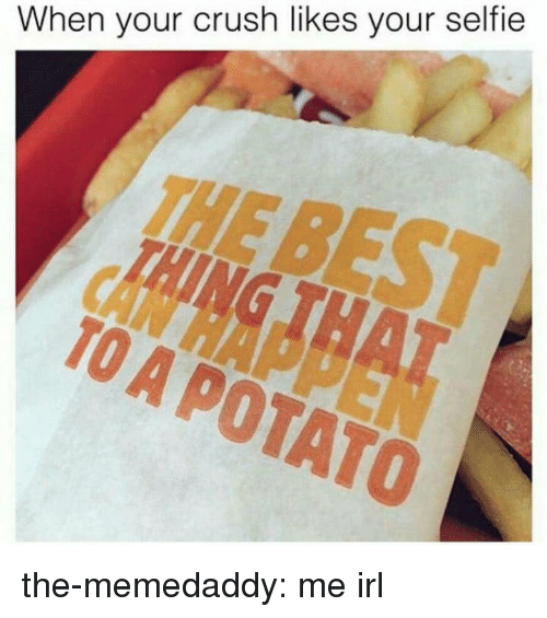 When Your Crush: When your crush likes your selfie  THE  TO A POTATO the-memedaddy:  me irl