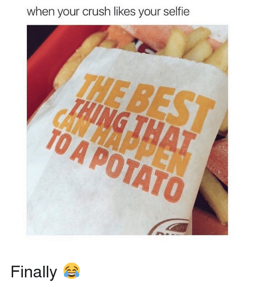 Crush, Memes, and Selfie: when your crush likes your selfie  TO A POTATO Finally 😂