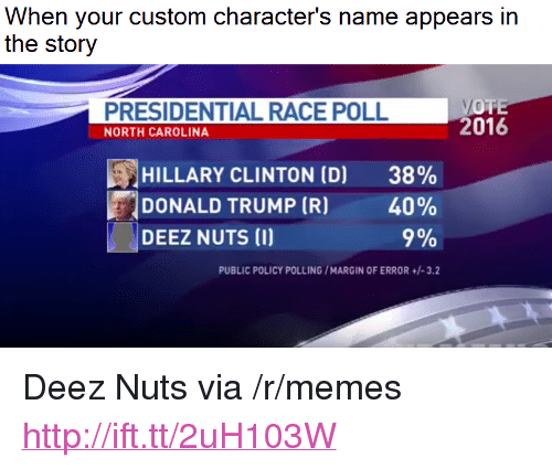 """Deez Nuts: When your custom character's name appears in  the story  PRESIDENTIAL RACE POLL  NORTH CAROLINA  2016  HILLARY CLINTON (D)  DONALD TRUMP (R)  38%  40%  9%  DEEZ NUTS (I)  PUBLIC POLICY POLLING/MARGIN OF ERROR+/-3.2 <p>Deez Nuts via /r/memes <a href=""""http://ift.tt/2uH103W"""">http://ift.tt/2uH103W</a></p>"""