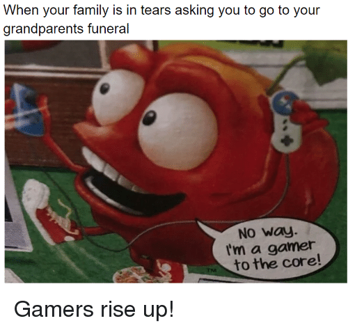 Family, The Core, and Asking: When your family is in tears asking you to go to your  grandparents unral  No Way.  I'm a gamer  to the core! Gamers rise up!