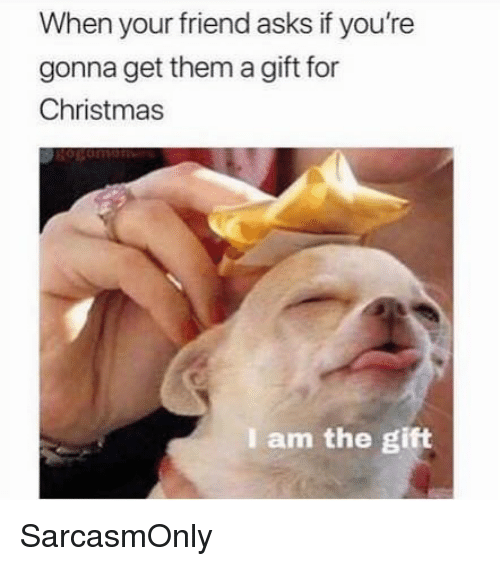 Christmas, Funny, and Memes: When your friend asks if you're  gonna get them a gift for  Christmas  I am the gift SarcasmOnly