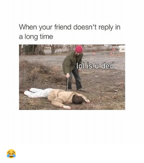 Dedded: When your friend doesn't reply in  a long time  lol is u ded 😂