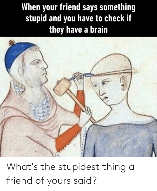 Of Yours: When your friend says something  stupid and you have to check if  they have a brain What's the stupidest thing a friend of yours said?