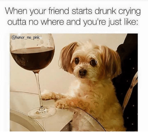 Crying, Drunk, and Pink: When your friend starts drunk crying  outta no where and you're just like:  @humor me_pink