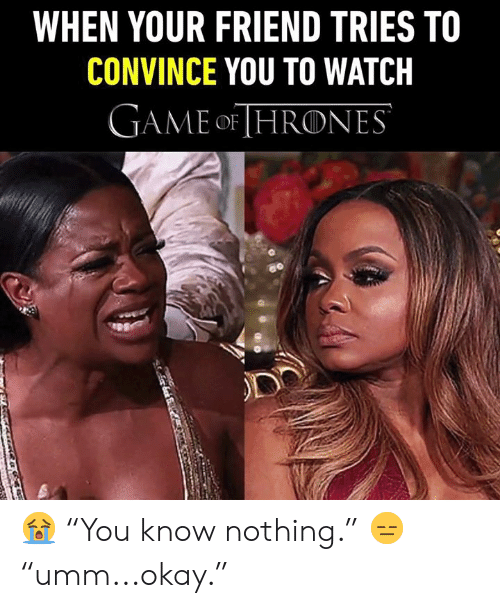 """Dank, Game, and Okay: WHEN YOUR FRIEND TRIES TO  CONVINCE YOU TO WATCH  GAME oF HRONES 😭 """"You know nothing."""" 😑 """"umm...okay."""""""