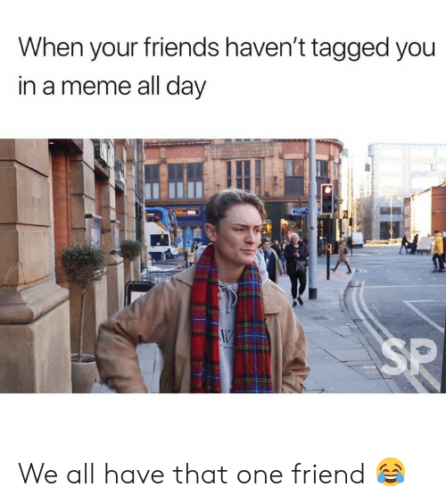 We All Have That One Friend: When your friends haven't tagged you  in a meme all day  SP We all have that one friend 😂