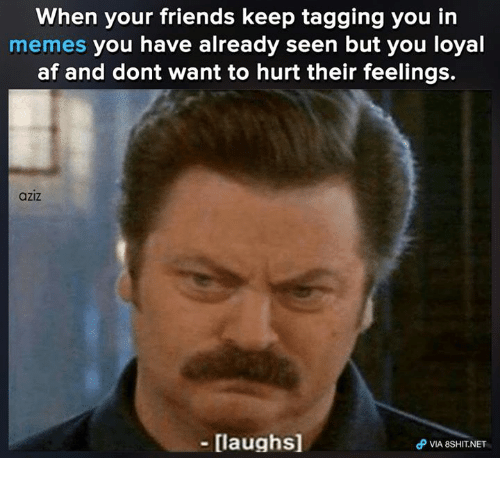 You Loyal: When your friends keep tagging you in  memes you have already seen but you loyal  af and dont want to hurt their feelings.  aziz  - [laughs]  θ VIA 8SHIT.NET