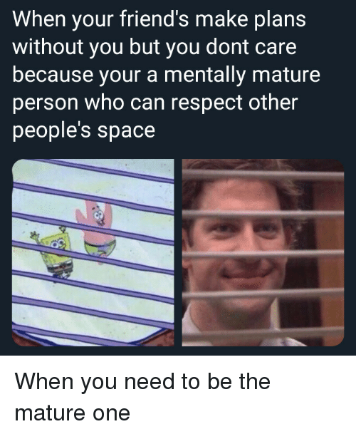 Friends, Respect, and Space: When your friend's make plans  without you but you dont care  because your a mentally mature  person who can respect other  people's space When you need to be the mature one