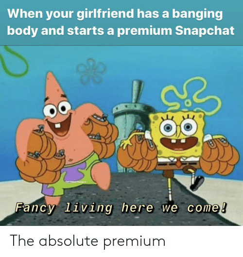 Snapchat: When your girlfriend has a banging  body and starts a premium Snapchat  @apengahobmemegod  Fancy living here we come! The absolute premium