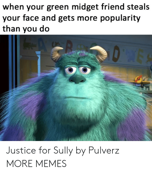 Dank, Memes, and Target: when your green midget friend steals  your face and gets more popularity  than you do  DES Justice for Sully by Pulverz MORE MEMES