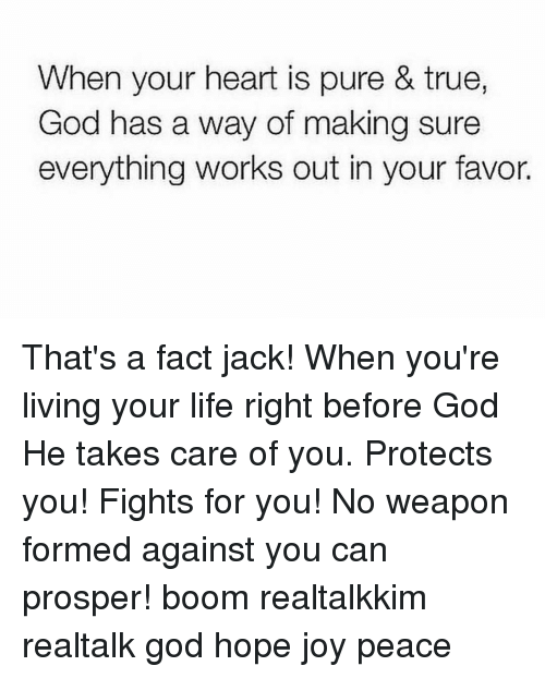 Memes, Boom, and 🤖: When your heart is pure & true,  God has a way of making sure  everything works out in your favor. That's a fact jack! When you're living your life right before God He takes care of you. Protects you! Fights for you! No weapon formed against you can prosper! boom realtalkkim realtalk god hope joy peace