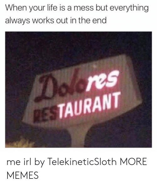 life is a mess: When your life is a mess but everything  always works out in the end  Dolores  RESTAURANT me irl by TelekineticSloth MORE MEMES