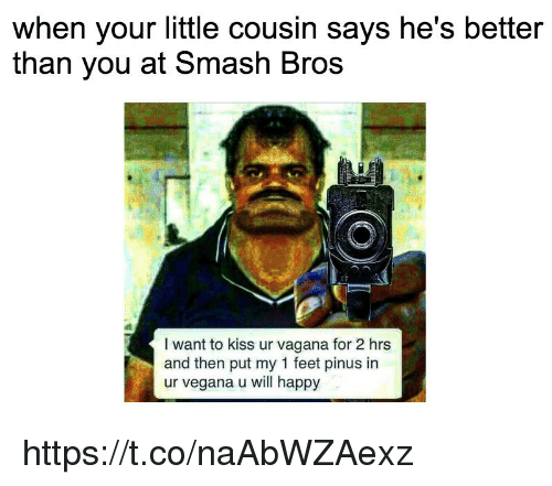 Smashing, Happy, and Kiss: when your little cousin says he's better  than vou at Smash Bros  I want to kiss ur vagana for 2 hrs  and then put my 1 feet pinus in  ur vegana u will happy https://t.co/naAbWZAexz