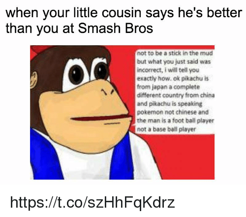 mud: when your little cousin says he's better  than you at Smash Bros  not to be a stick in the mud  but what you just said was  incorrect, i will tell you  exactly how, ok pikachu is  from japan a complete  different country from china  and pikachu is speaking  pokemon not chinese and  the man is a foot ball player  not a base ball player https://t.co/szHhFqKdrz