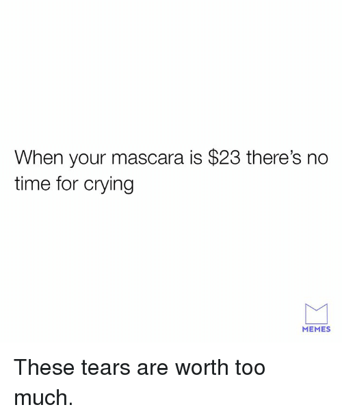 Crying, Dank, and Memes: When your mascara is $23 there's no  time for crying  MEMES These tears are worth too much.