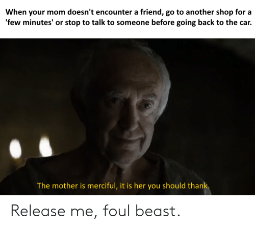 Dank Memes, Mom, and Back: When your mom doesn't encounter a friend, go to another shop for a  'few minutes' or stop to talk to someone before going back to the car.  The mother is merciful, it is her you should thank. Release me, foul beast.