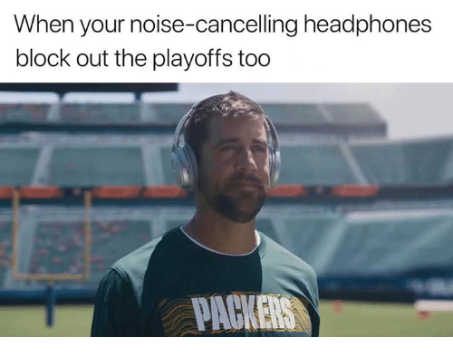 Nfl, Headphones, and Block: When your noise-cancelling headphones  block out the playoffs too