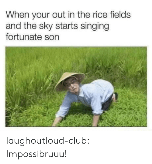 Club, Singing, and Tumblr: When your out in the rice fields  and the sky starts singing  fortunate son laughoutloud-club:  Impossibruuu!