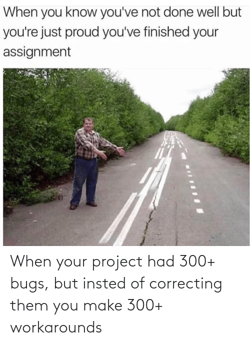 You Make: When your project had 300+ bugs, but insted of correcting them you make 300+ workarounds
