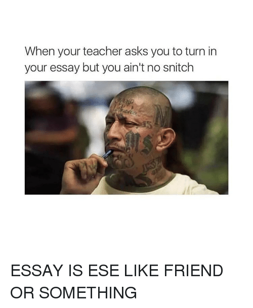 Memes, Snitch, and 🤖: When your teacher asks you to turn in  your essay but you ain't no snitch ESSAY IS ESE LIKE FRIEND OR SOMETHING