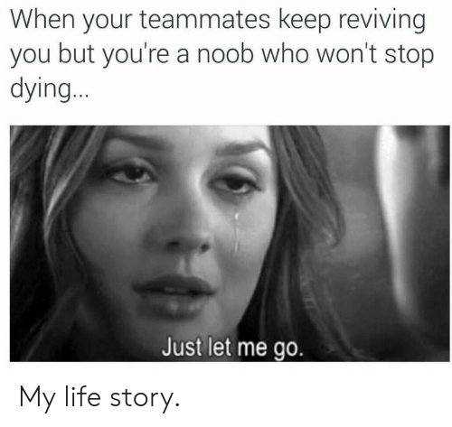 noob: When your teammates keep reviving  you but you're a noob who won't stop  dying..  Just let me go. My life story.