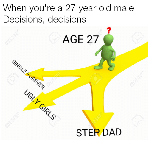 Dank, 🤖, and Dads: When you're a 27 year old male  Decisions, decisions  AGE 27  STER DAD