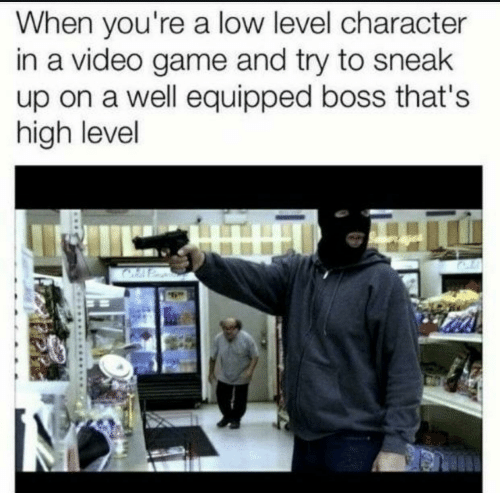 Game, Video, and Video Game: When you're a low level character  in a video game and try to sneak  up on a well equipped boss that's  high level  HU