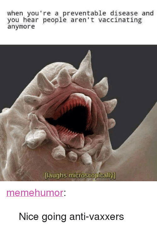 """Nice Going: when you're a preventable disease and  you hear people aren't vaccinating  anymore  [laughs microscopically <p><a href=""""http://memehumor.net/post/166743875473/nice-going-anti-vaxxers"""" class=""""tumblr_blog"""">memehumor</a>:</p>  <blockquote><p>Nice going anti-vaxxers</p></blockquote>"""