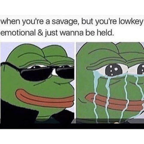Savage, Lowkey, and Youre: when you're a savage, but you're lowkey  emotional & just wanna be held.