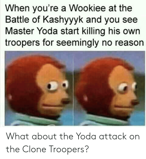 clone troopers: When you're a Wookiee at the  Battle of Kashyyyk and you see  Master Yoda start killing his own  troopers for seemingly no reason What about the Yoda attack on the Clone Troopers?