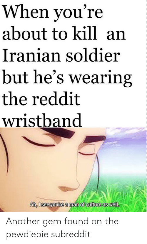 Aman: When you're  about to kill an  Iranian soldier  but he's wearing  the reddit  wristband  Ah, Isee you're aman of culture as well. Another gem found on the pewdiepie subreddit