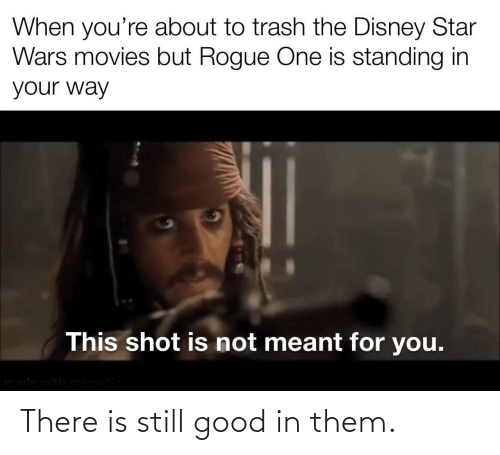 Trash: When you're about to trash the Disney Star  Wars movies but Rogue One is standing in  your way  This shot is not meant for you.  made with mematic There is still good in them.