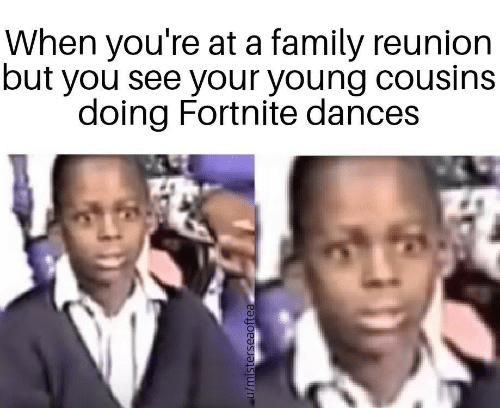 reunion: When you're at a family reunion  but you see your young cousins  doing Fortnite dances