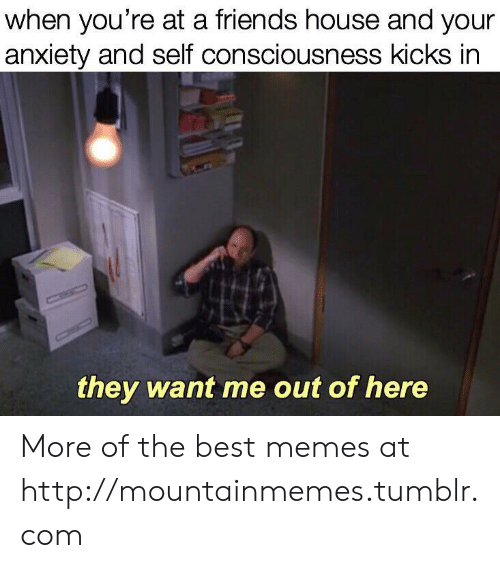Friends, Memes, and Tumblr: when you're at a friends house and your  anxiety and self consciousness kicks in  CHIC  they want me out of here More of the best memes at http://mountainmemes.tumblr.com