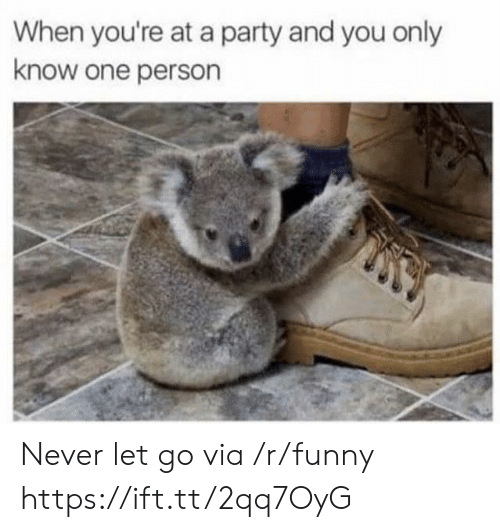 When Youre At A Party: When you're at a party and you only  know one person Never let go via /r/funny https://ift.tt/2qq7OyG