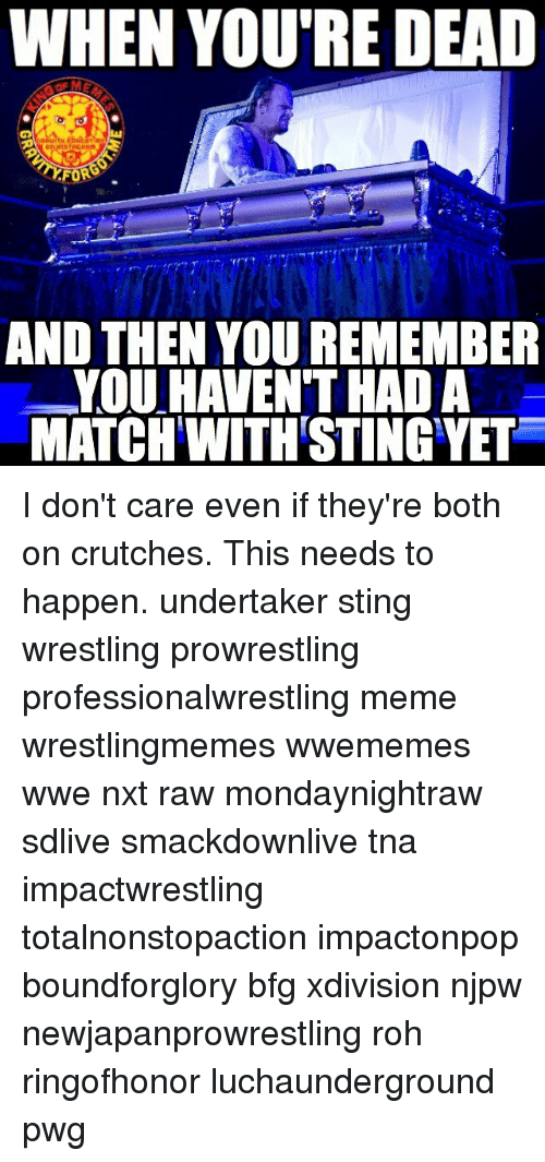 Stinged: WHEN YOU'RE DEAD  AND THEN YOU REMEMBER  YOU HAVEN THAD A  MATCH WITH STING YET I don't care even if they're both on crutches. This needs to happen. undertaker sting wrestling prowrestling professionalwrestling meme wrestlingmemes wwememes wwe nxt raw mondaynightraw sdlive smackdownlive tna impactwrestling totalnonstopaction impactonpop boundforglory bfg xdivision njpw newjapanprowrestling roh ringofhonor luchaunderground pwg