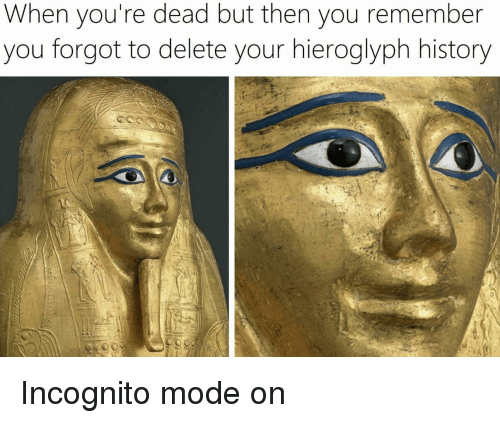 Incognito Mode: When you're dead but then you remember  you forgot to delete your hieroglyph history Incognito mode on