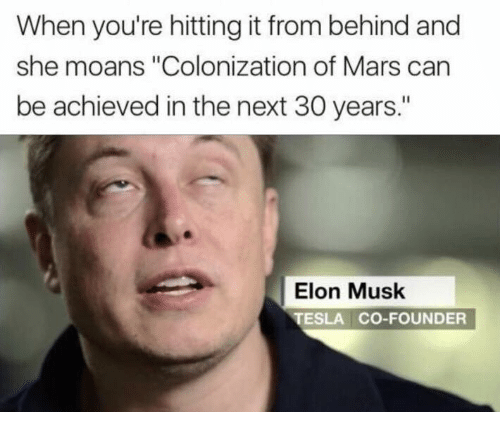 "Hitting It From Behind: When you're hitting it from behind and  she moans ""Colonization of Mars can  be achieved in the next 30 years.""  Elon Musk  TESLA CO-FOUNDER"