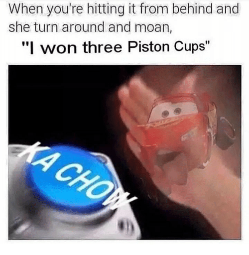"Hitting It From Behind: When you're hitting it from behind and  she turn around and moan,  ""I won three Piston Cups"""