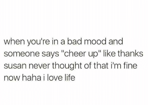 """Bad, Dank, and Life: when you're in a bad mood and  someone says """"cheer up"""" like thanks  susan never thought of that i'm fine  now haha i love life"""