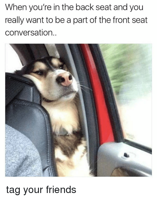 conversating: When you're in the back seat and you  really want to be a part of the front seat  conversation. tag your friends