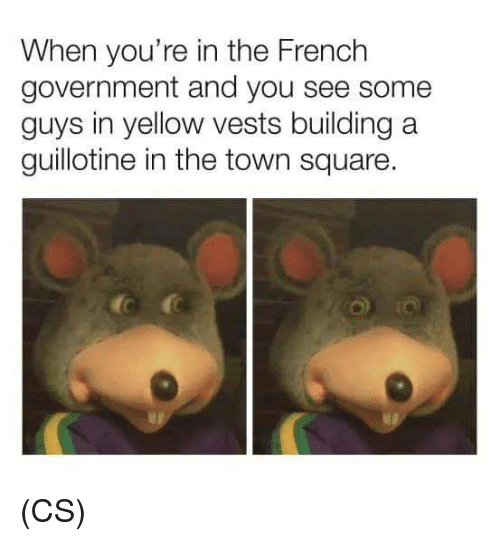 Memes, Square, and French: When you're in the French  government and you see some  guys in yellow vests building a  guillotine in the town square (CS)