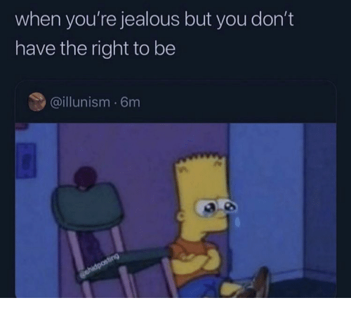 jealous: when you're jealous but you don't  have the right to be  @illunism 6m  ehidposting