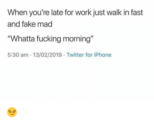 "Fake, Funny, and Iphone: When you're late for work just walk in fast  and fake mad  ""Whatta fucking morning""  5:30 am 13/02/2019 Twitter for iPhone 😏"