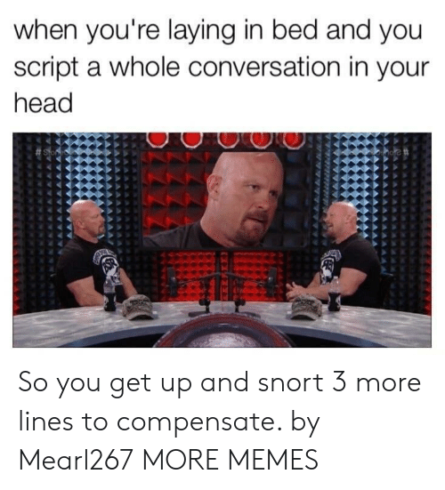 Dank, Head, and Memes: when you're laying in bed and you  script a whole conversation in your  head So you get up and snort 3 more lines to compensate. by Mearl267 MORE MEMES