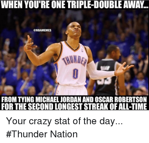 oscar robertson: WHEN YOU'RE ONE TRIPLE-DOUBLEAWAN  ONBAMEMES  FROM TYING MICHAEL JORDANAND OSCAR ROBERTSON  FOR THE SECOND LONGESTSTREAK OFALL-TIME Your crazy stat of the day... #Thunder Nation
