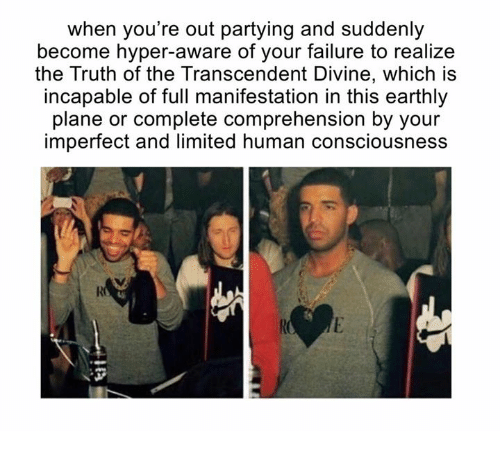 Transcendance: when you're out partying and suddenly  become hyper-aware of your failure to realize  the Truth of the Transcendent Divine, which is  incapable of full manifestation in this earthly  plane or complete comprehension by your  imperfect and limited human consciousness